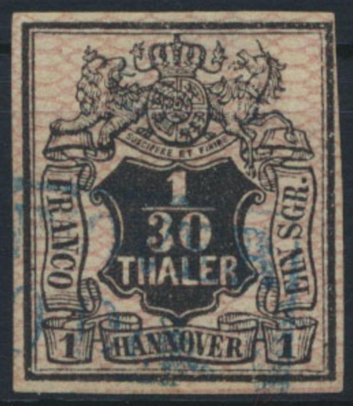 Hannover 10 Altdeutschland 1856 Aufdruck Netzwerk 1/30 Th / 1 Sgr gestempelt
