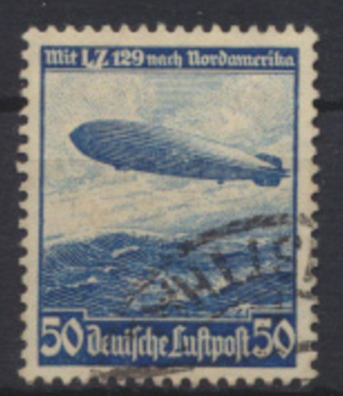 Deutsches Reich 606 mit Besonderheit dicker weißer Strich unter LZ gestempelt