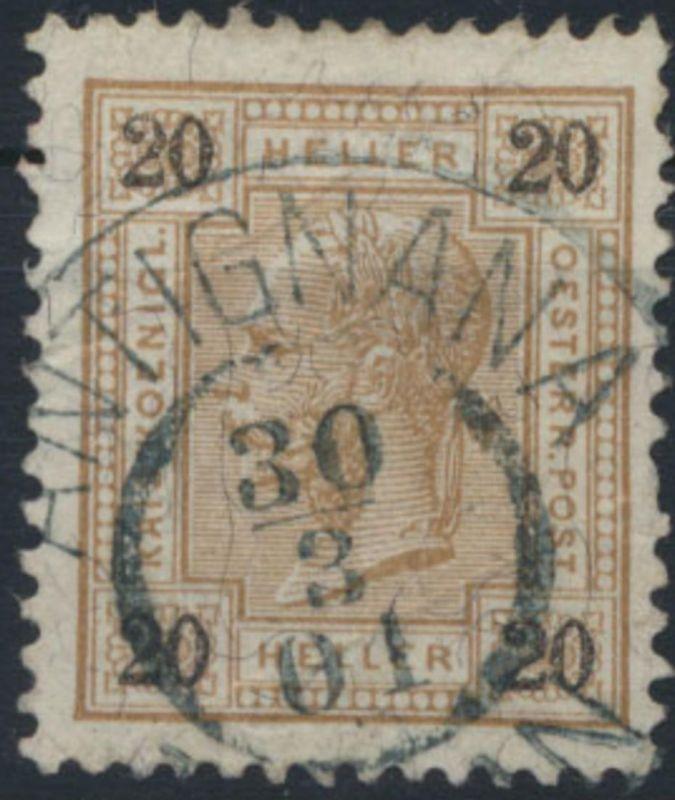 Österreich 90 mit seltenem Stempel Antignana 30.3.01 heute Tinjan in Kroatien