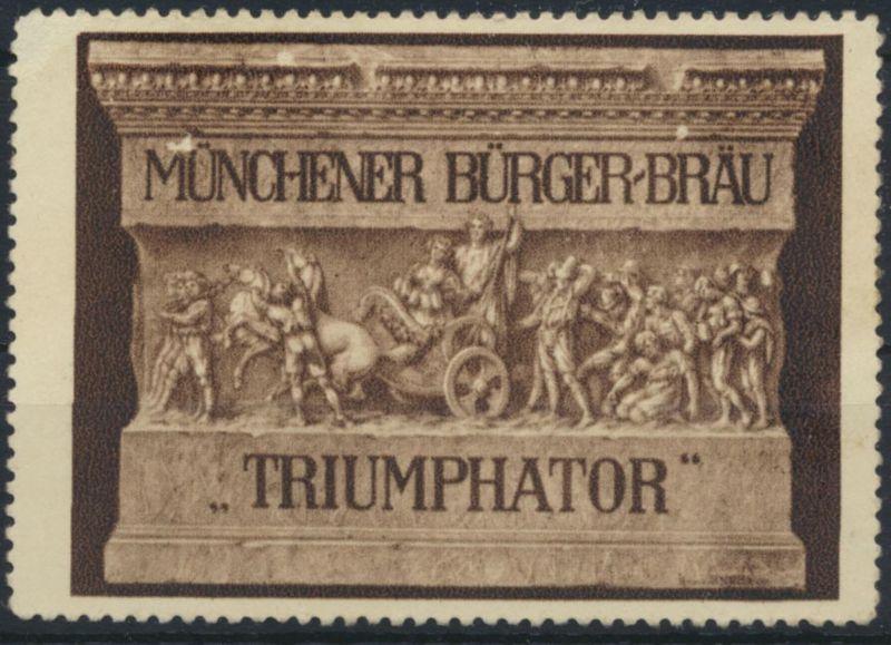Vignette Reklame Jugendstil Künstler Bürger-Bräu München Triumphator Bier Alkoho