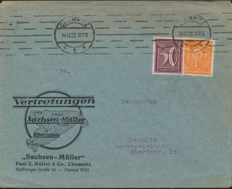 Deutsches Reich Brief MIF 164+169 Reklame Druck Sachsen-Müller 14.12.1922