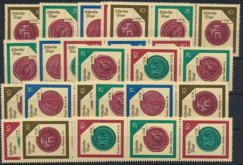 DDR 3156-3159 kompl. Satz mit 16 Zusammendrucken Historische Siegel 32,00