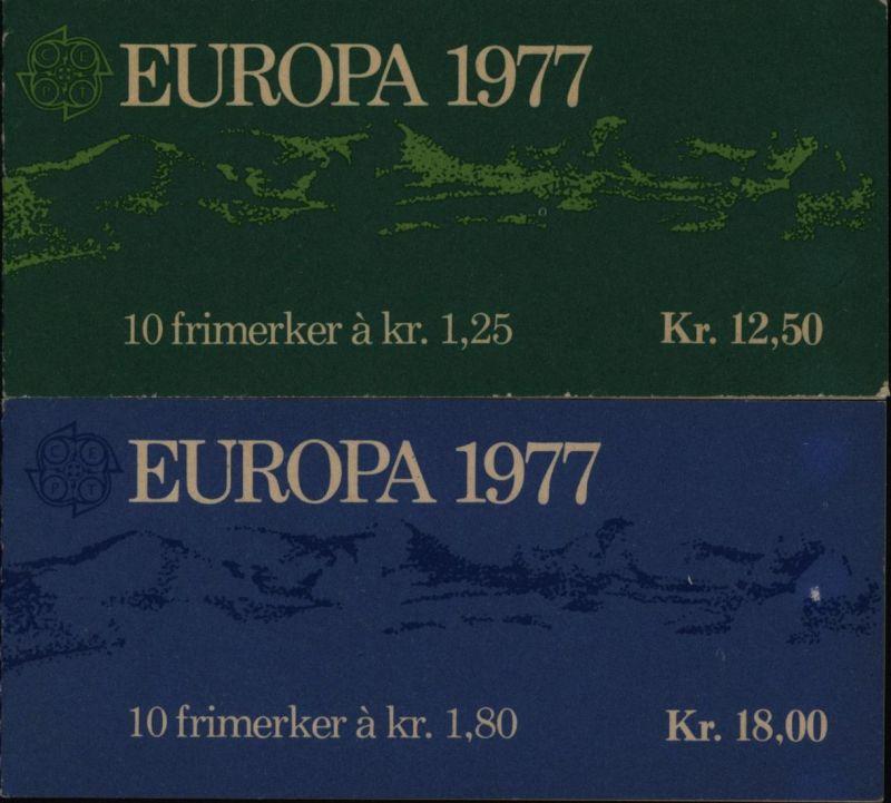 Norwegen 742-743 Europa CEPT in zwei Markenheftchen MH 1977 postfrisch