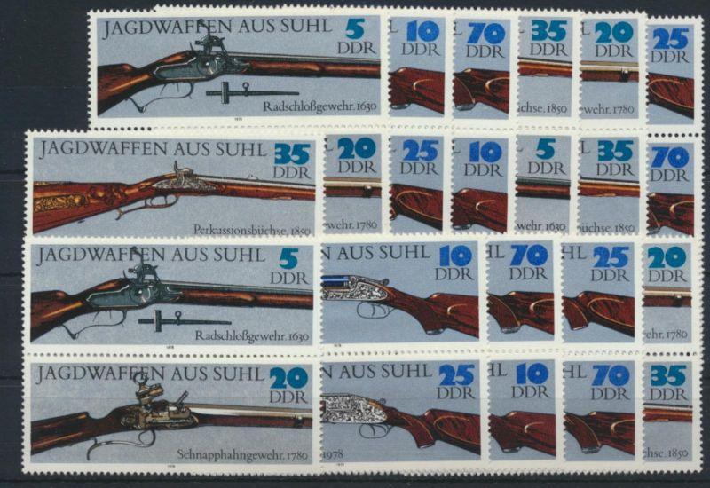 DDR 2376-2381 Jagdwaffen kpl.12 Zusammendrucke Luxus postfrisch Kat.-Wert 32,00