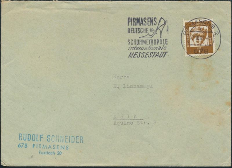 Bund Brief 348y Werbestempel Deutsche Schuhmetropole Pirmasens n Köln 27.10.1962