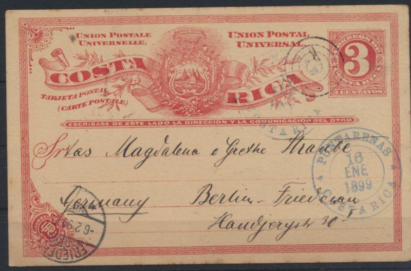 Übersee Costa Rica Ganzsache postal stationery Puntarenas to Berlin