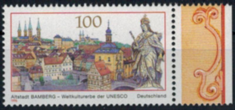 Bund 1881 I Unesco vom Rand mit Plattenfehler tadellos postfrisch 1996