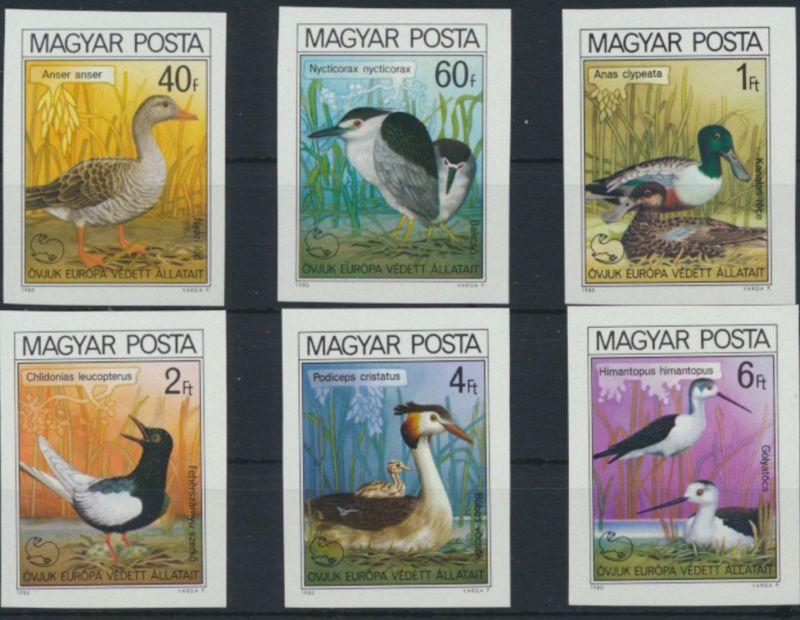 Ungarn 3451-3456 B** - Vögel  Europäische Naturschutzkampagne