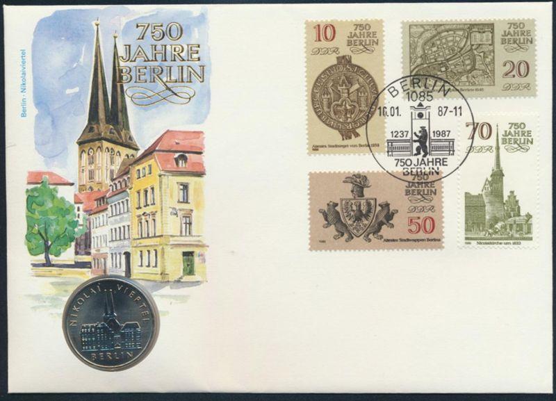 DDR Numisbrief 750 Jahre Berlin Nikolaiviertel mit 5 M Münze 1987