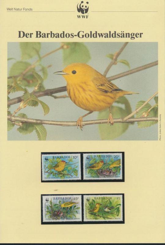 WWF Barbados 770-773 Tiere Vögel Goldwaldsänger kpl. Kapitel bestehend