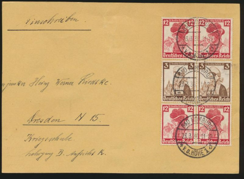 Reich Zusammendruck Nothilfe Volkstrachten Bad Homburg nach Dresden 23.3.1936