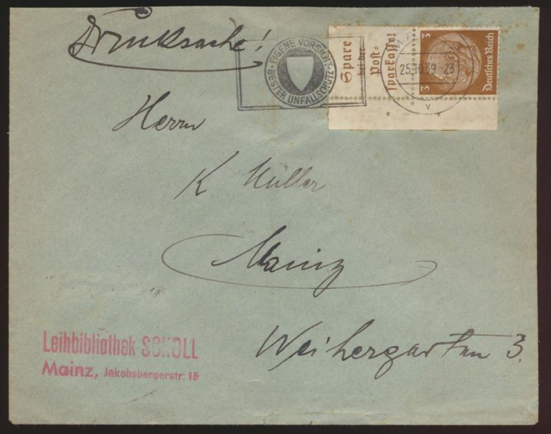 Deutsches Reich Brief Zusammendruck Werbestempel Unfall Mainz 25.10.1939