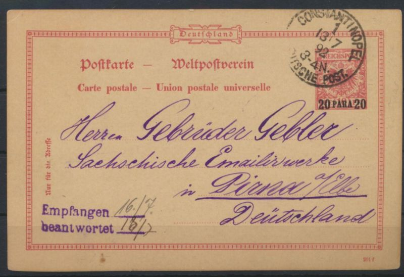 Kolonien DPA Türkei Ganzsache postal stationery 20 Aufdruck Para a. 10Pfg. Adler