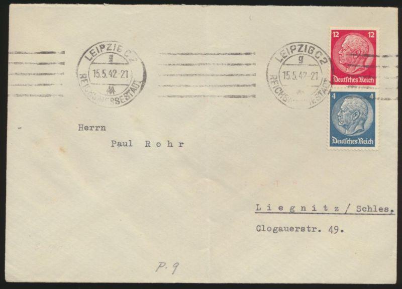 Deutsches Reich Brief Zusammendruck MIF von Leipzig n Liegnitz Schlesien 15.5.42