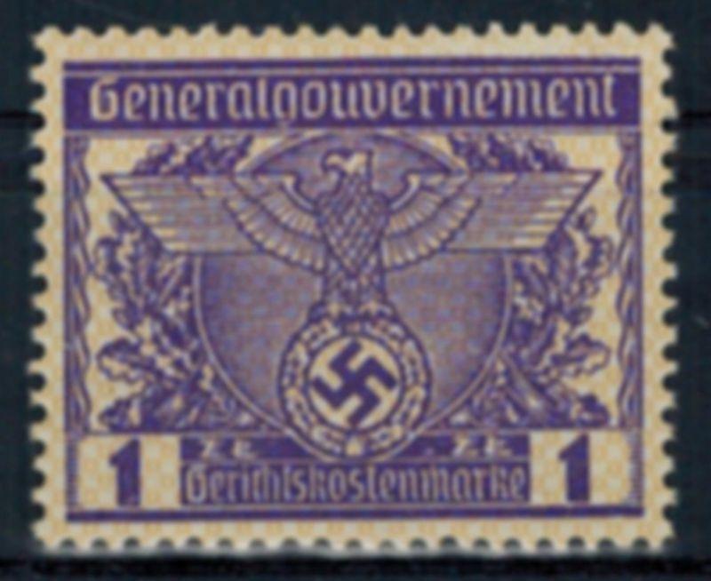 Deutsches Reich Vignette Generalgouvernement 1 Zt. Gerichtskostenmarke postfr.