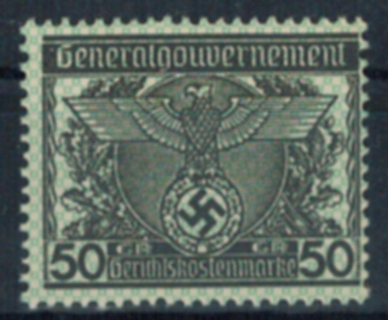 Deutsches Reich Vignette Generalgouvernement 50 Gr. Gerichtskostenmarke postfr.