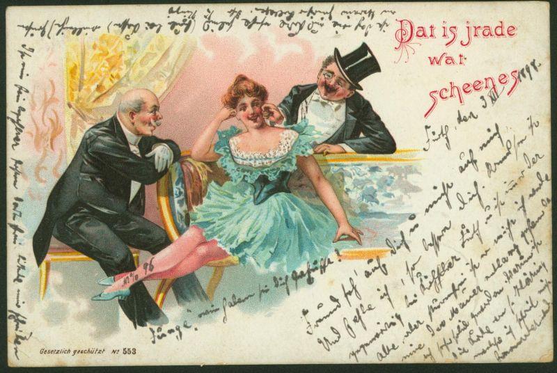 Ansichtskarte Künstler Litho Frauen Dat is jrade wat scheenes Fürth 1898