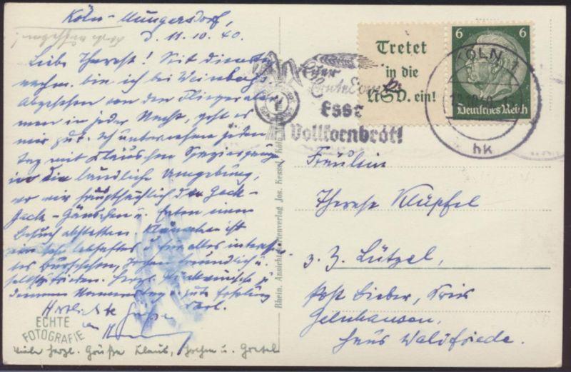 Deutsches Reich Zusammendruck W 84 auf Ansichtskarte Köln Vollkornbrot n Lützel