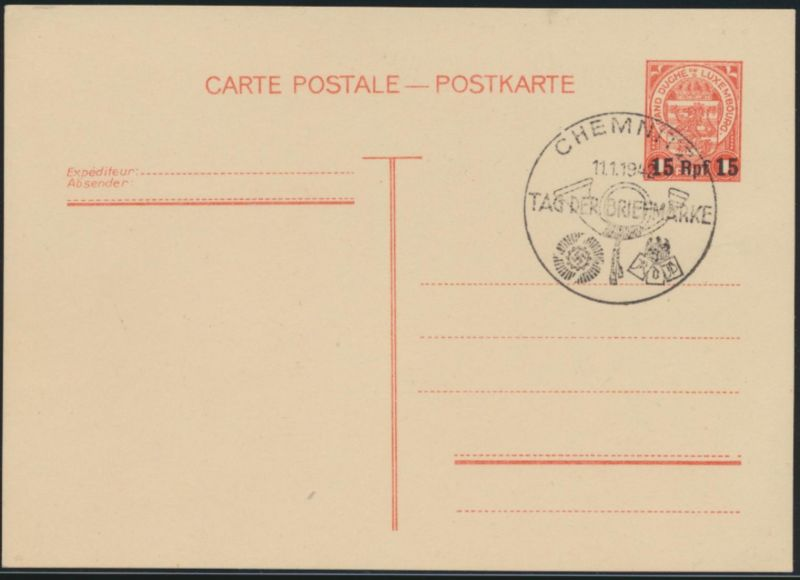Deutsche Besetzung 2. Weltkrieg Ganzsache Luxemburg mit SST Chemnitz Briefmarke