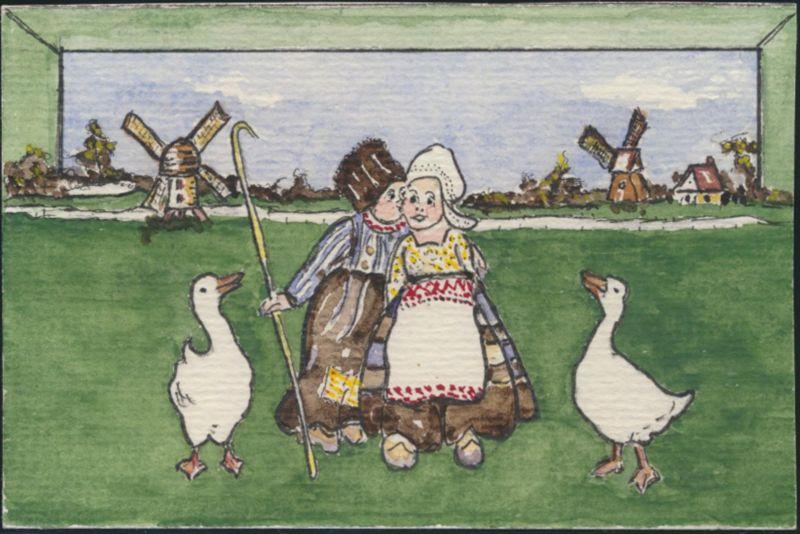 Ansichtskarte Windmühle Kinder Tiere Gänse handgemalt