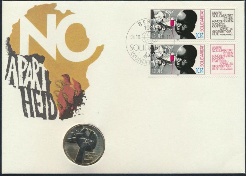 DDR Numisbrief Anti Apartheid 1988 mit 5M Münze