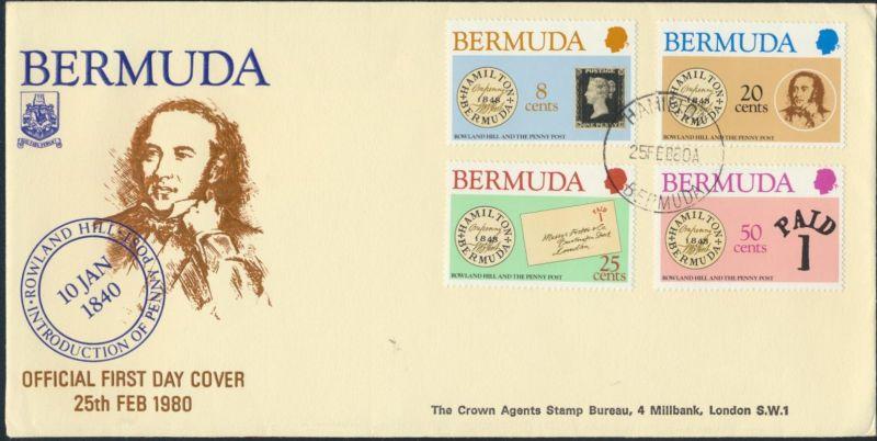 Bermuda Ersttagsbrief MIF 378-381 Hamilton Sir Rowland Hill Penny Post 25.2.1980