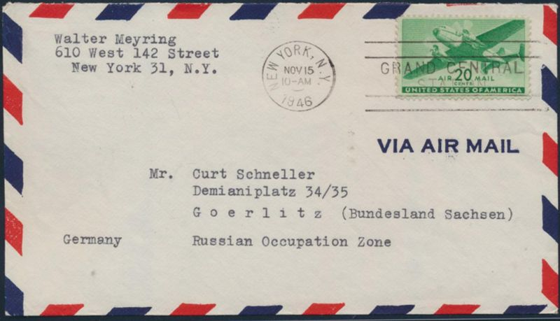 USA Brief Flugpost 504 New York nach Görlitz 15.11.1946