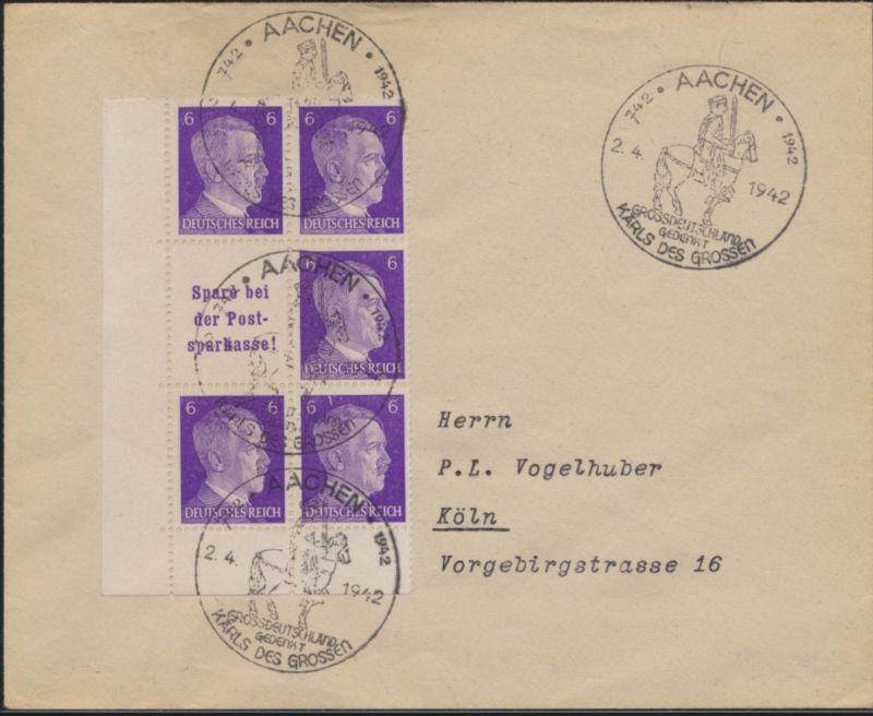 Reich Zusammendruck S 285 Bremerhaven Bogenecke SST Aachen nach Köln 2.4.1942