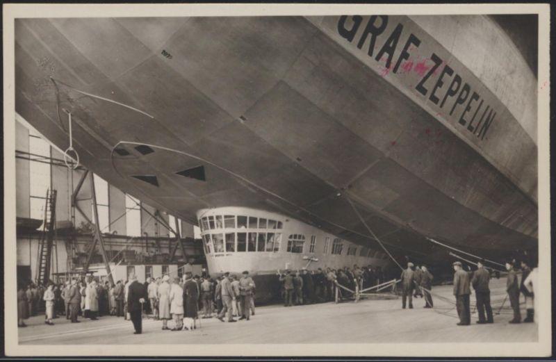 Flugpost Zeppelin air mail Ansichtskarte Startbereit in der Halle Verlag Metz