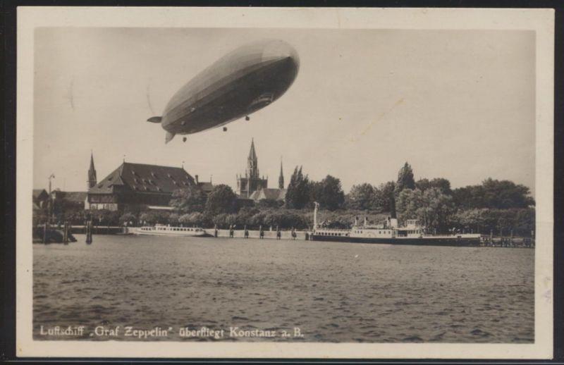 Flugpost Zeppelin air mail Ansichtskarte Luftschiff überfliegt Konstanz Sulzberg