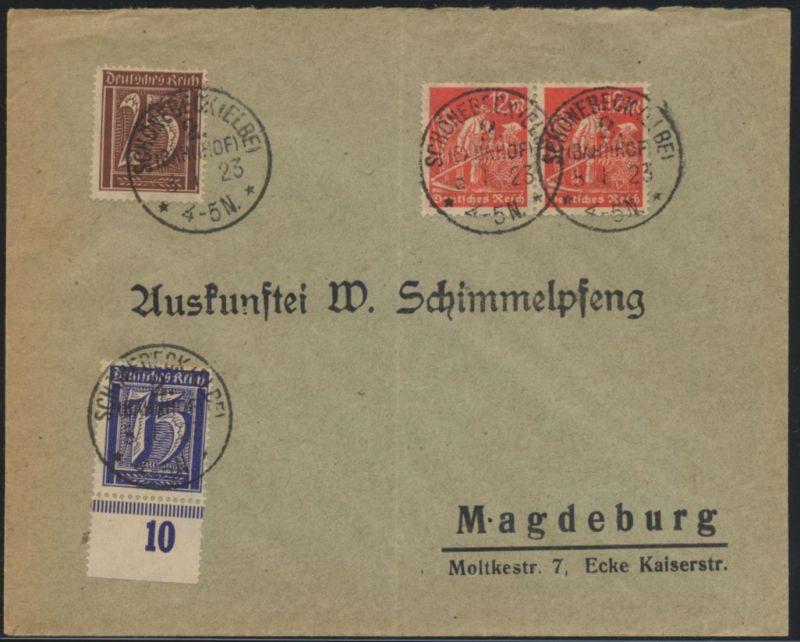 Bahnpost Bahnhof Deutsches Reich Infla Brief teils Paare Schönebeck Magdeburg