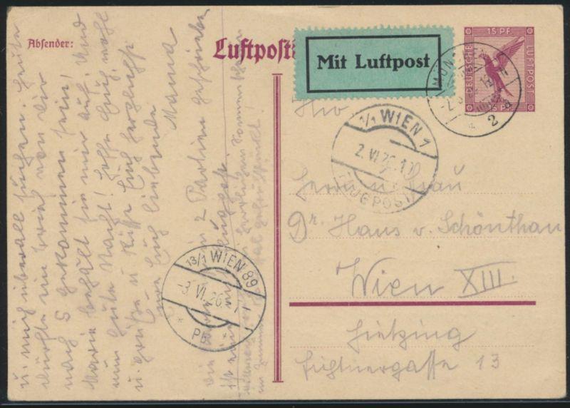 Flugpost air mail Ganzsache postal stationery München Wien 89 2.6.1926