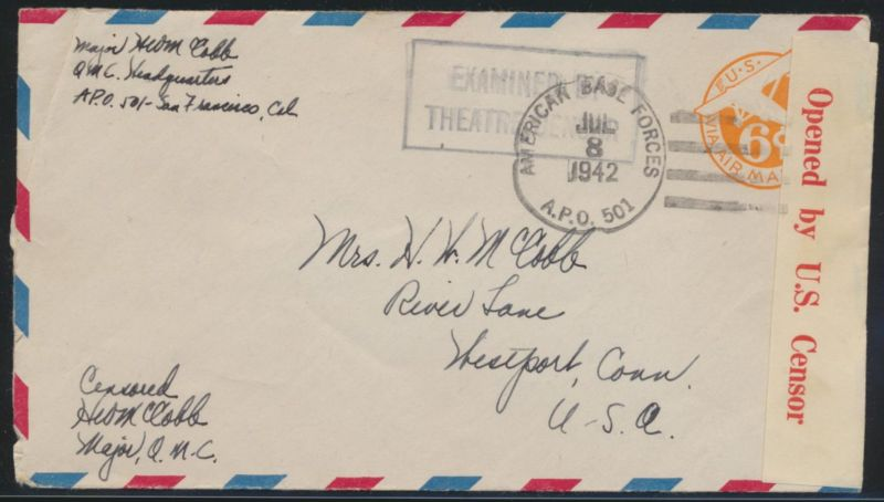 Flugpost USA Ganzsache Zensur air-mail letter Postal stationery 6d with Censor