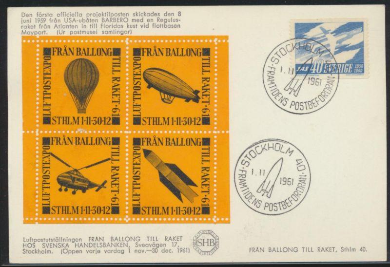Air mail letter Flugpost Schweden mit Zusammendruck Vignette Zeppelin Ballon