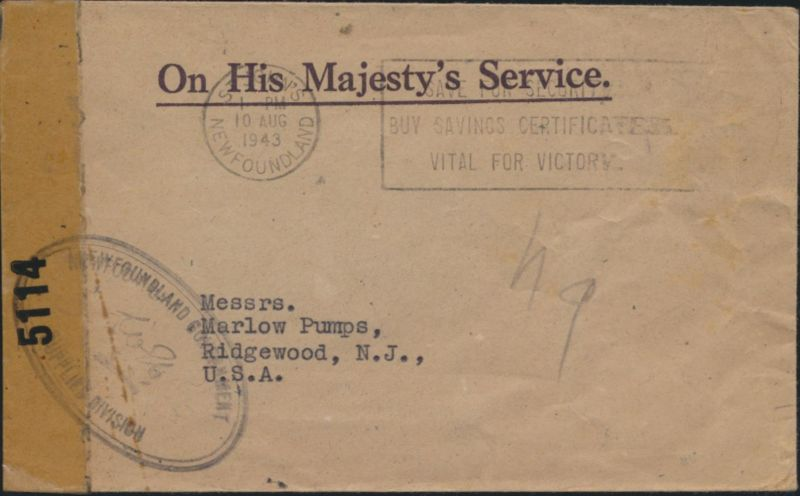 Kanada Brief geöffnet durch Zensur St.Johns Neufundland nach Ridgewood, N.J.