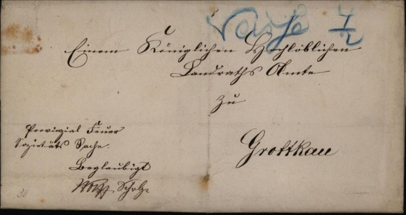 Preussen Brief Neisse 4/2 selt. handschriftliche Aufgabe in blau nach Grottkau
