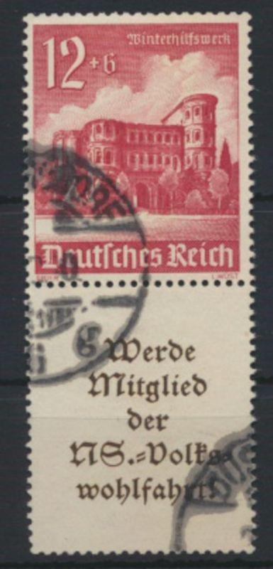 Deutsches Reich Zusammendruck S 262 Winterhilfswerk WHW gestempelt Kat-Wert 14,-