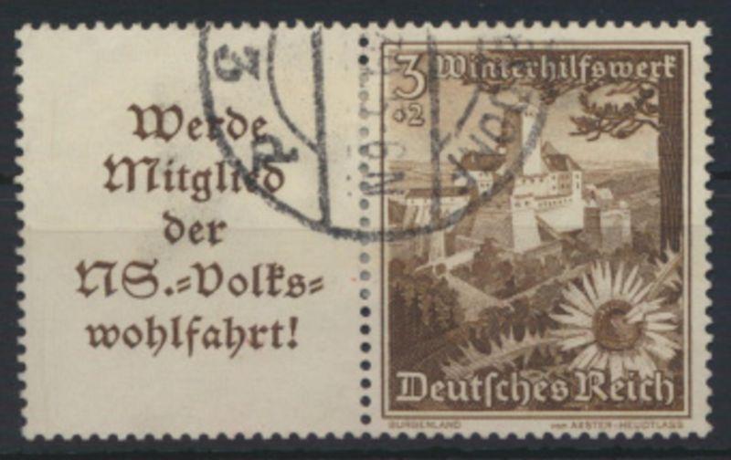 Deutsches Reich Zusammendruck W 135 Winterhilfswerk WHW gestempelt Kat-Wert 15,-