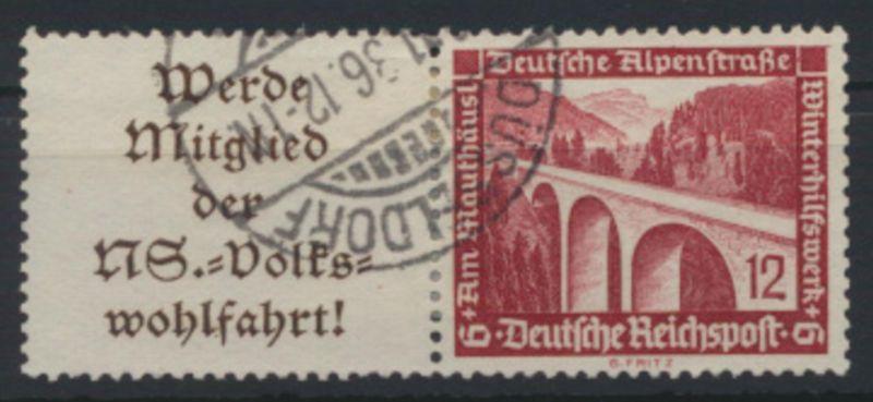 Deutsches Reich Zusammendruck W 111 Winterhilfswerk WHW gestempelt Kat-Wert 10,-