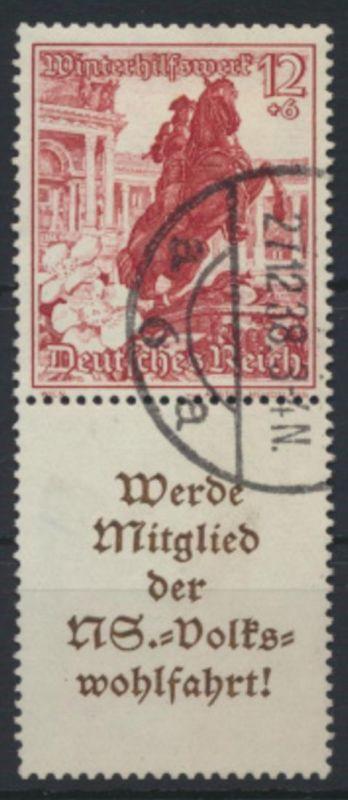 Deutsches Reich Zusammendruck S 253 Winterhilfswerk WHW gestempelt Kat-Wert 13,-