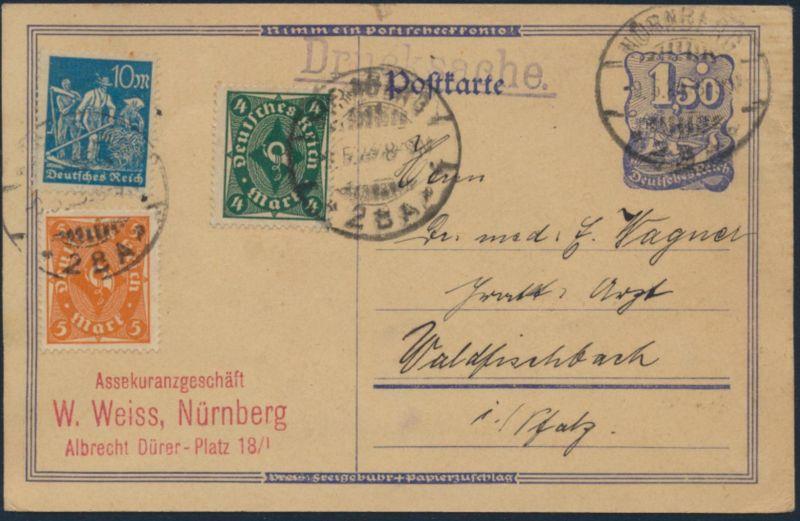 D. Reich Ganzsache Drucksache Infla P148 ZuF 226-27, 239 Nürnberg Waldfischbach