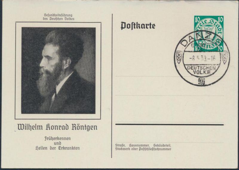 Danzig Ganzsache P 62 03 Kongress Ärzte Naturforscher Zoppot Röntgen NS-