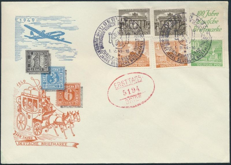 Berlin Brief Bauten Zusammendruck S 3 Flugpost 100 Jahre Briefmarke FDC 2x SST