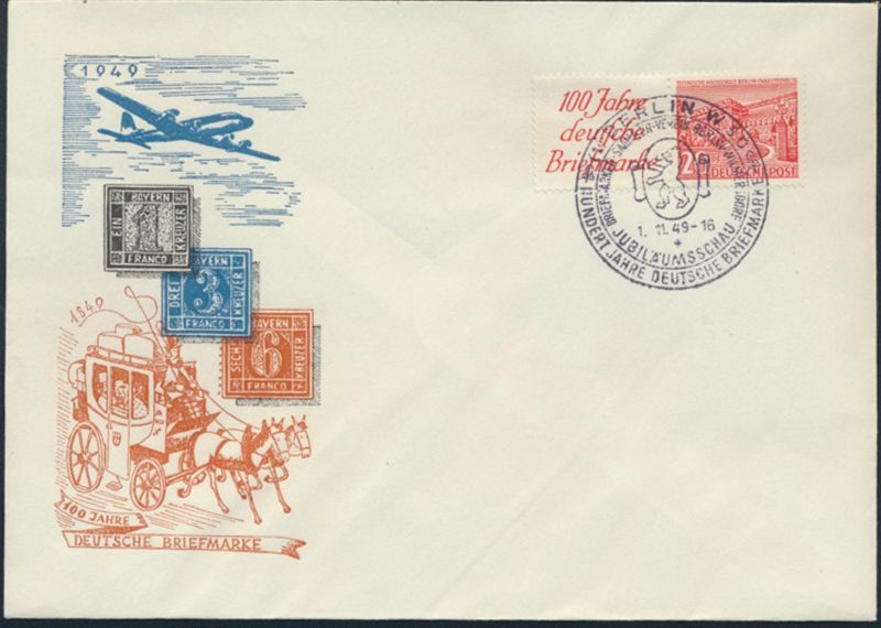 Berlin Karte Bauten Zusammendruck W 13 Flugpost 100 Jahre Briefmarke FDC SST