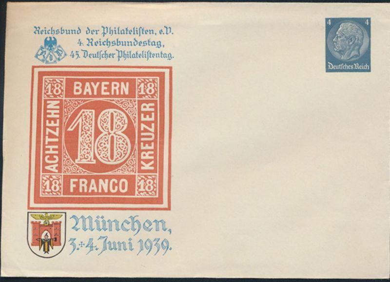 Dt. Reich Privatganzsache PU 128 45. Philatelistentag München 4. Reichsbundestag