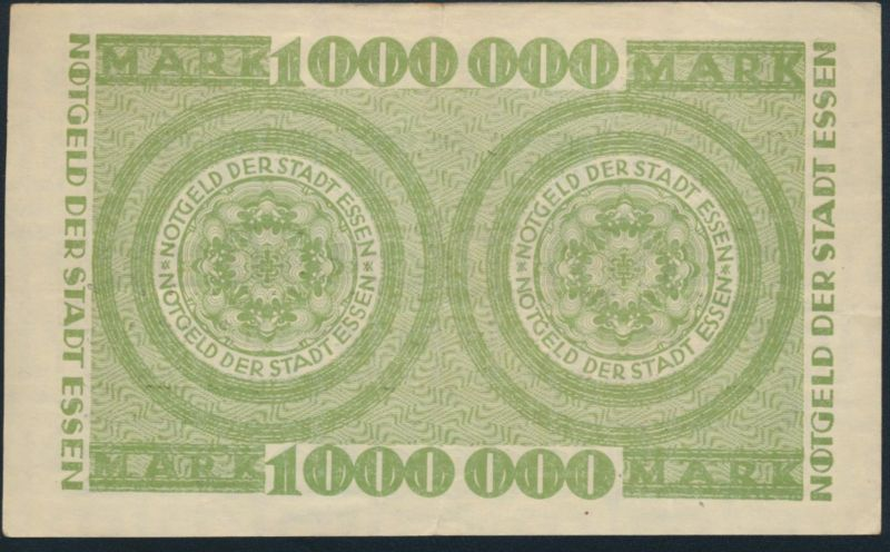 Banknote Notgeld Stadt Essen 1 Million Mark ss 12.08.1923