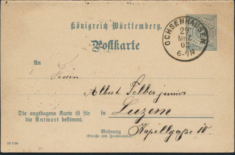 Württemberg Ganzsache P 42 Frage/Antwort kompl. ab Ochsenhausen 29.3.1902