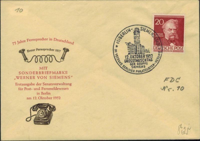 Berlin 20 Pfg. Männer als FDC vom 12.10.1952 Motiv Siemens Erfinder + Philatelie