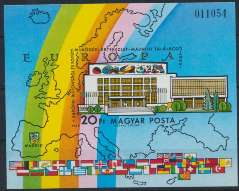 Ungarn Block 168 B postfrisch - KSZE Madrid 1983