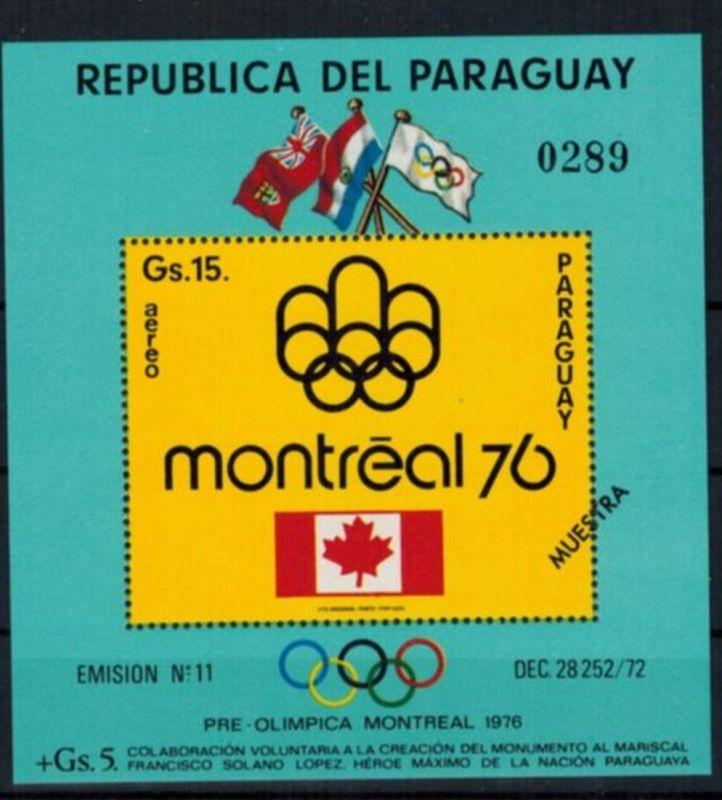 Paraguay Olympia Sport Block Sommerspiele Montreal Aufdruck Muestra postfrisch